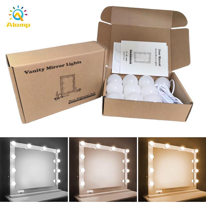 Luci di vanità per trucco stile hollywood 10 LED lampadina regolabile colore regolabile luminosità USB azionato a specchio luce illuminazione