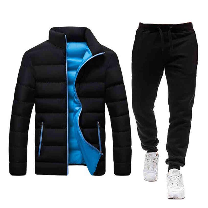 2021 Новые зимние теплые мужчины трексуиты 2 частей наборов толстовки + брюки стоят воротник мужской ветрозащитный слой густая куртка Parka