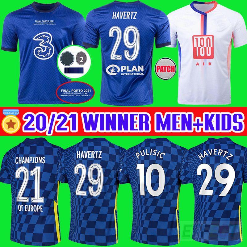 2021 Final Chelsea HAVERTZ 29 # Soccer Jersey PULISIC ZIYECH KANTE CFC WERNER ABRAHAM MOUNT 2021 2022 Champions Football Shirt 20 21 22 Home Men + Hids WOMEN Kit