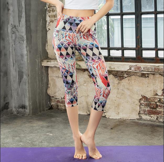 Cintura alta feminina Digital Jacquard esportes em execução calças ao ar livre moldando M-XXL