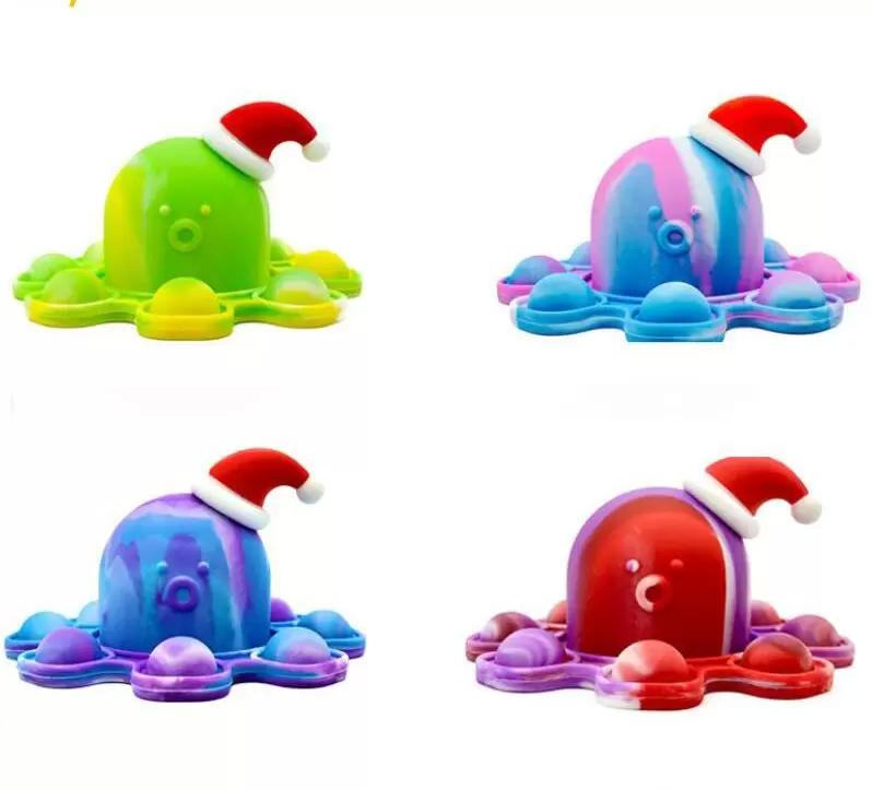2021 giocattolo originale fidget divertente arcobaleno rovesciato occupus espressione bambola in silicone decompressione del pendente giocattoli 4 colori per regali di Natale FY2921