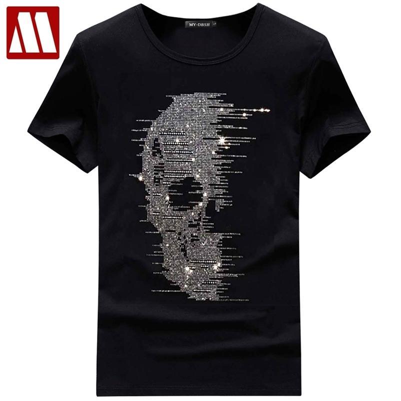 Estilo Britânico Mens Verão Crânio Camiseta Blingbling T-shirt Homme Moda Streetwear Rhinestones Imprimir Homem Tees Camisetas Hombre 210322