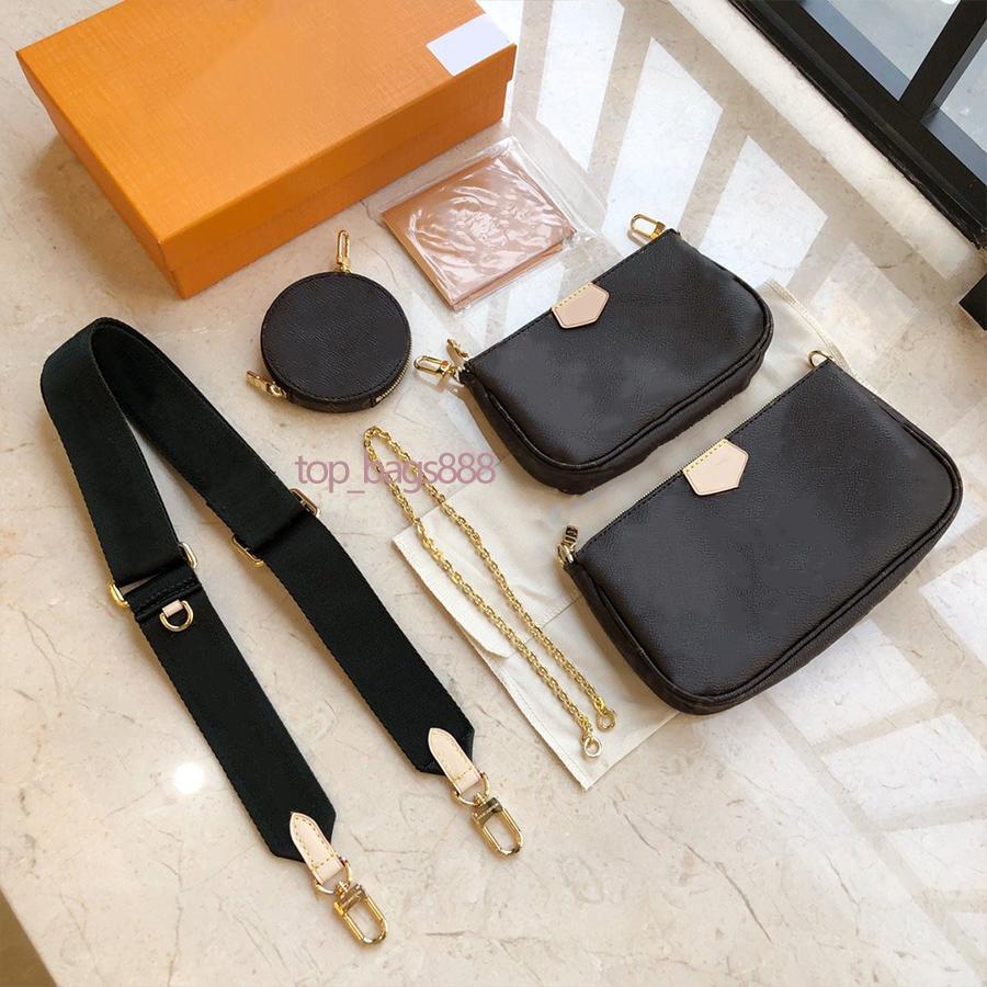 Top Qualität Kleiner Mini Multi Pochette Mahjong Bag Composite Ketten 3 Stücke Runde Münzgeldbörse mit Riemen Schulter Kreuz Körper Handtaschen Borsa