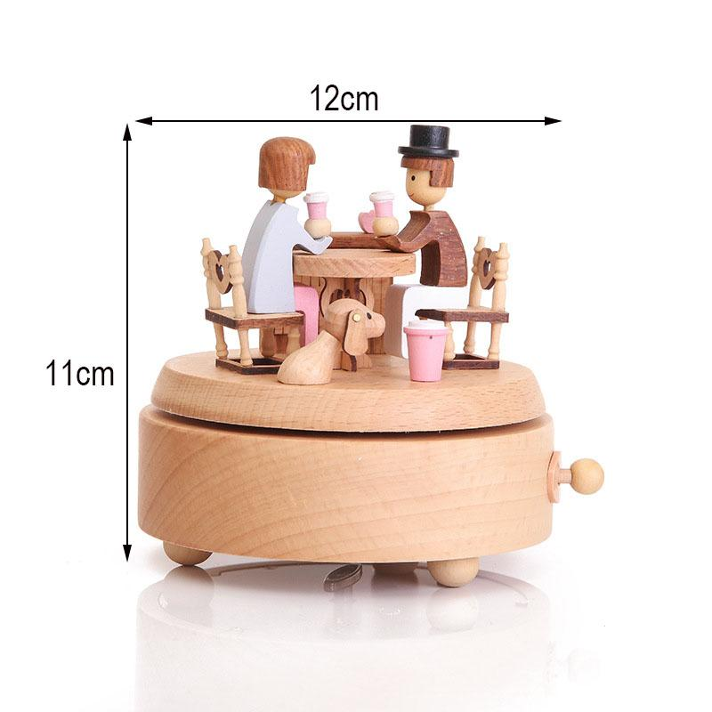 MGT Wooden rotating music box clockwork music handmade wooden box crafts accessories retro home decoration Valentines Day gift