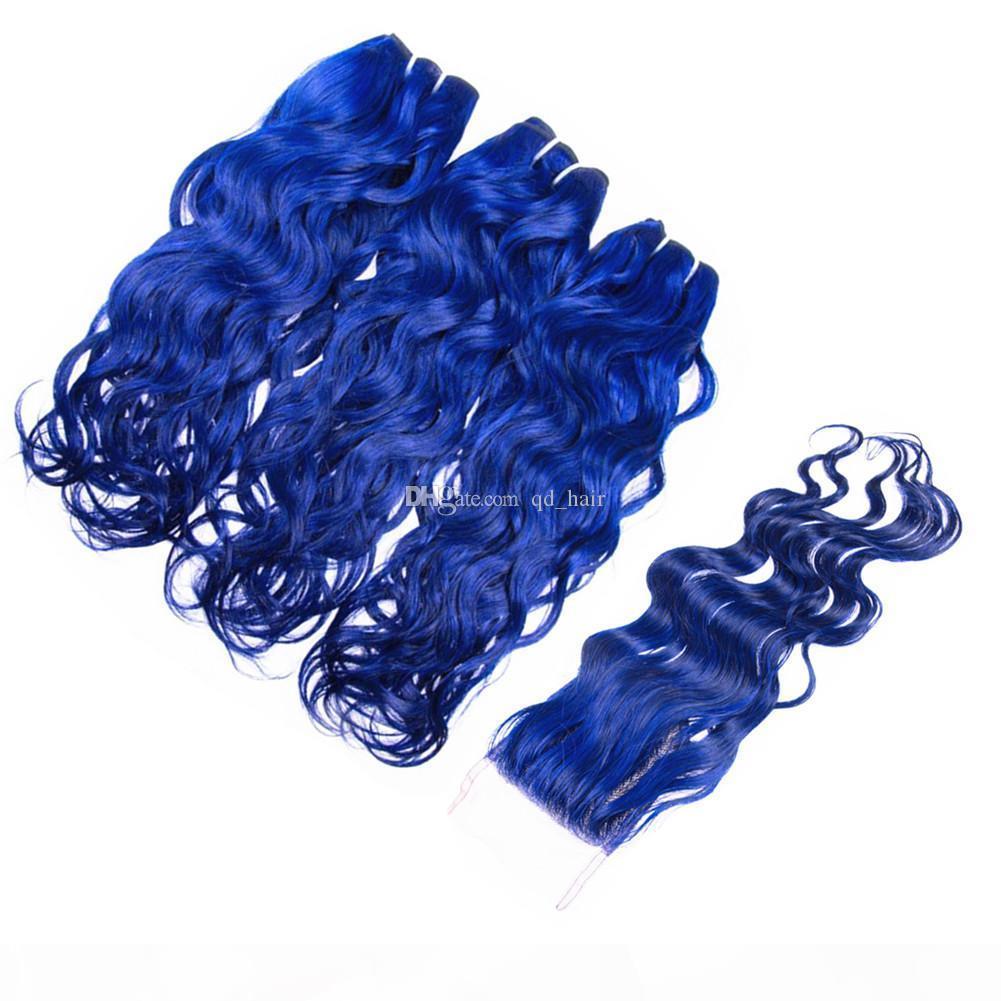 Water Wave Virgin Humain Cheveux 3 Bundles avec fermeture en dentelle 4pcs Lot Couleur bleue Couleur humide et ondulée Traps de cheveux avec fermeture 4x4
