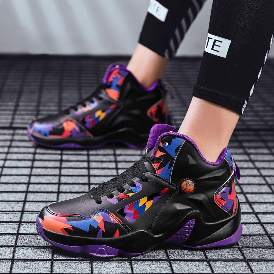 2020 Black Queda Samurai Basquete Alta Superior Botas de Choque Absorção Desgaste Estudante Resistente Respirável Esportes Sapatos Masculinos XN2J