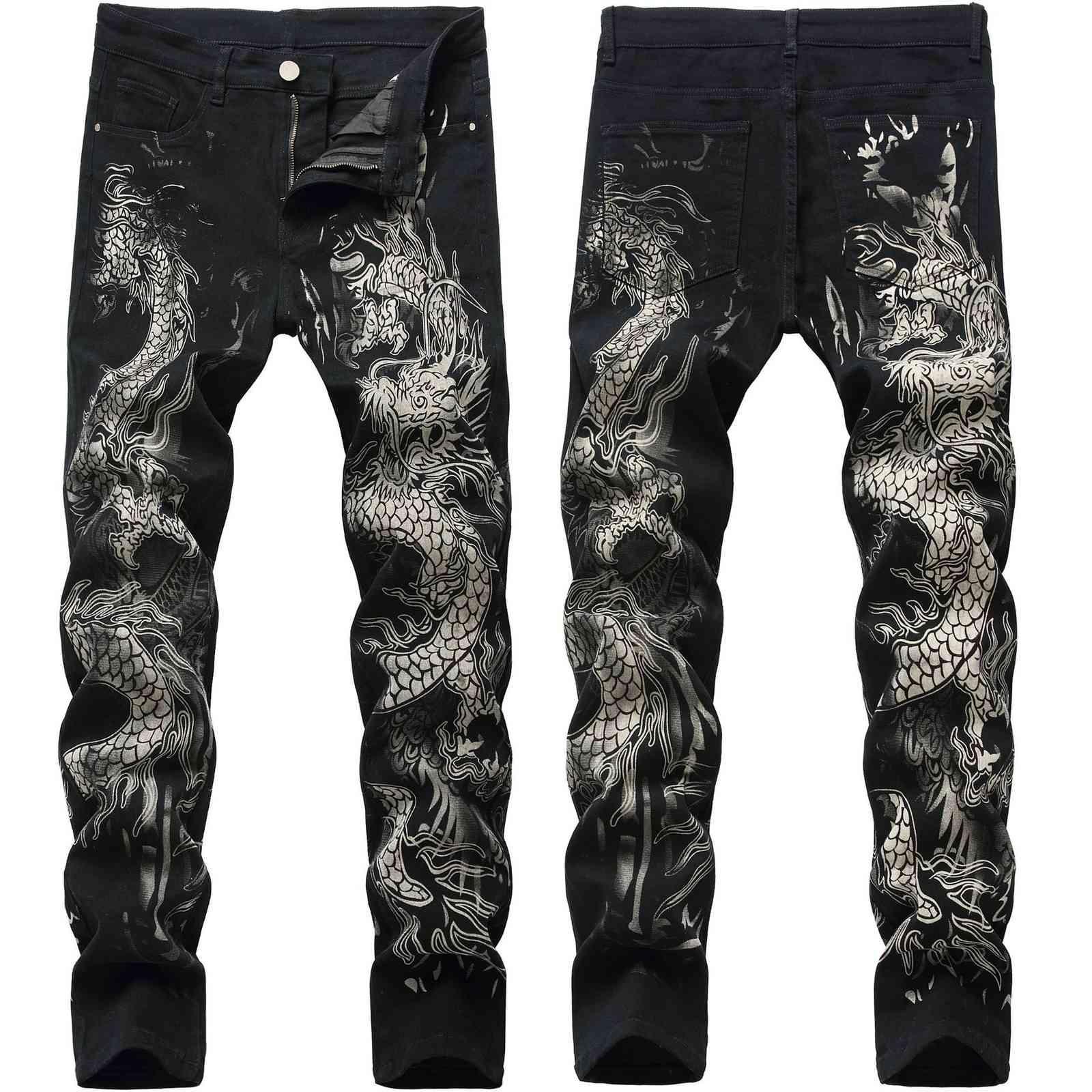 2021 Jeans de los hombres de arruga y agujero Moda de moda China Dragon Pantalones impresos Pantalones rectos Hombre Tubo Slim Fit Bullet