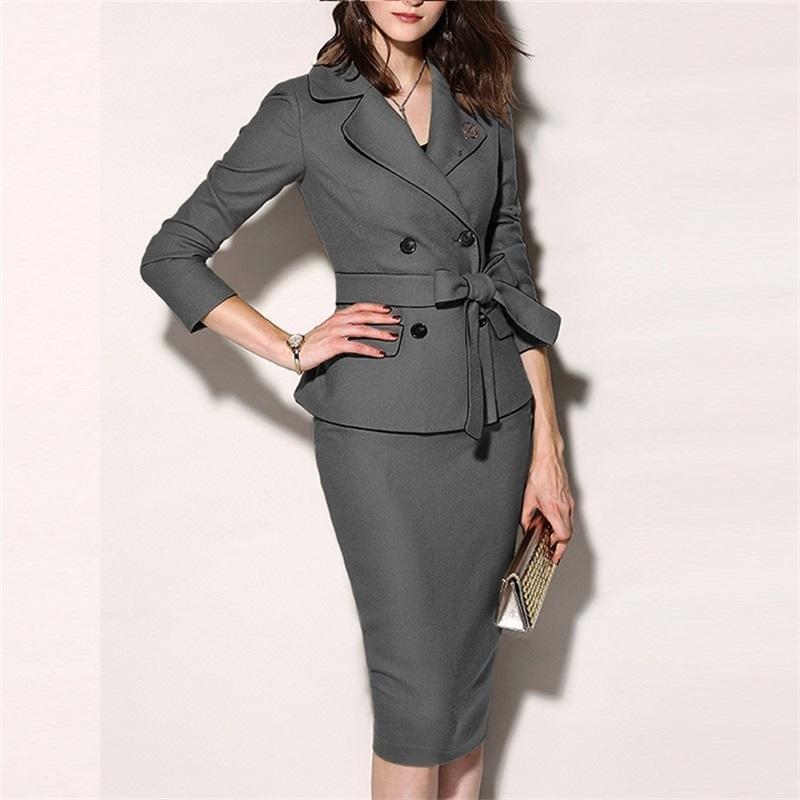 Damen Anzug 2 Stück Set Formale Anzüge Womens Sexy Hülle Mini Casual Coat Office Wear Jacke Kleid Sets Blazer