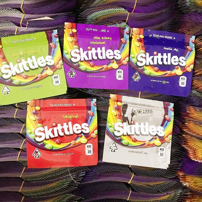 Skittles Gummies Mylar Bags WARHEADS AIRHEADS Xtremes Empty Bag 400MG 408MG Smell Proof Packaging Zipper Package in stock DHL Free
