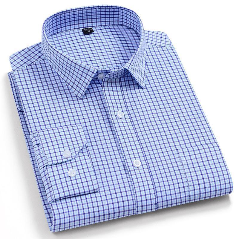 품질 100 % 코 튼 격자 무늬 남성 스마트 캐주얼 셔츠 패션 긴 소매 칼라 편안한 남성 의류 의류