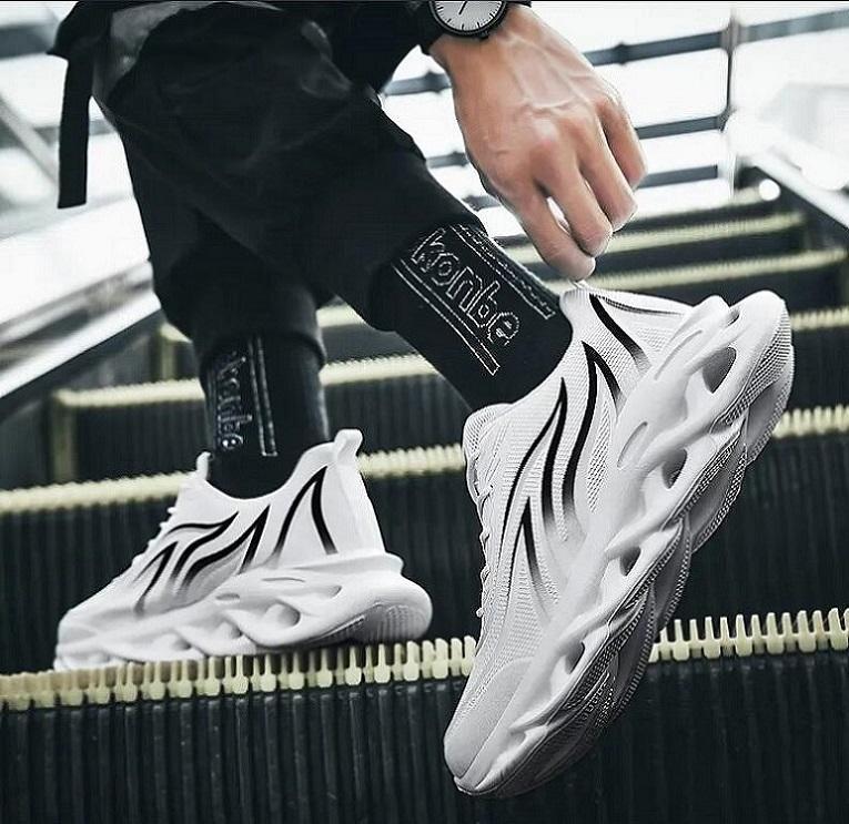 TGE465 Açık Spor Ayakkabı Erkekler Hafif Koşucu Sneakers Mesh Nefes Dokuma Dantel Yukarı Jogging Yürüyüş Siyah Beyaz