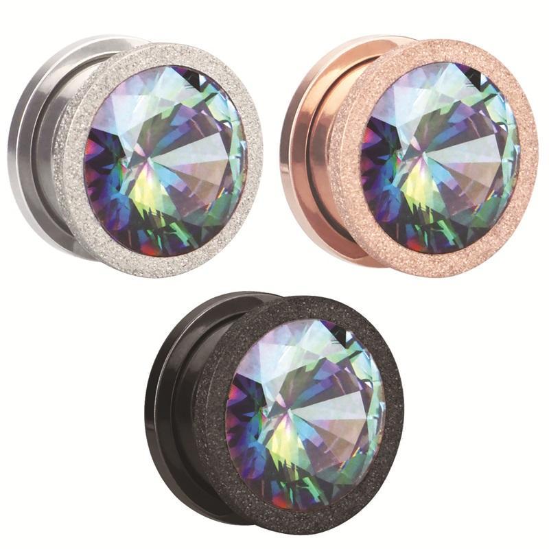 Alisouy 2pc 스테인레스 스틸 최고 품질 크리스탈 지르콘 귀 터널 플러그 스크류 맞는 다채로운 이어 오리 게이지 귀 팽창기 쥬얼리 1881 Q2