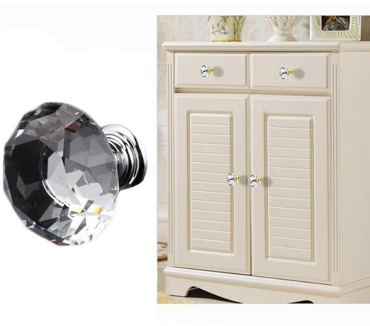 100pcs 30mm transparent Glass Cabinet Knob Drawer Shiny Polished Chrome Pull Handle Kitchen Door Wardrobe Hardware Used