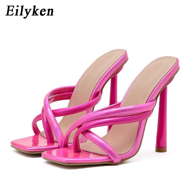 Eilyken Elegante Signore Partito Party Dress Shoes Pantofole Sandali estivi Modo clip a punta Flip flop Donne tacchi sottili tacchi alti sexy Pompe Try45BHC