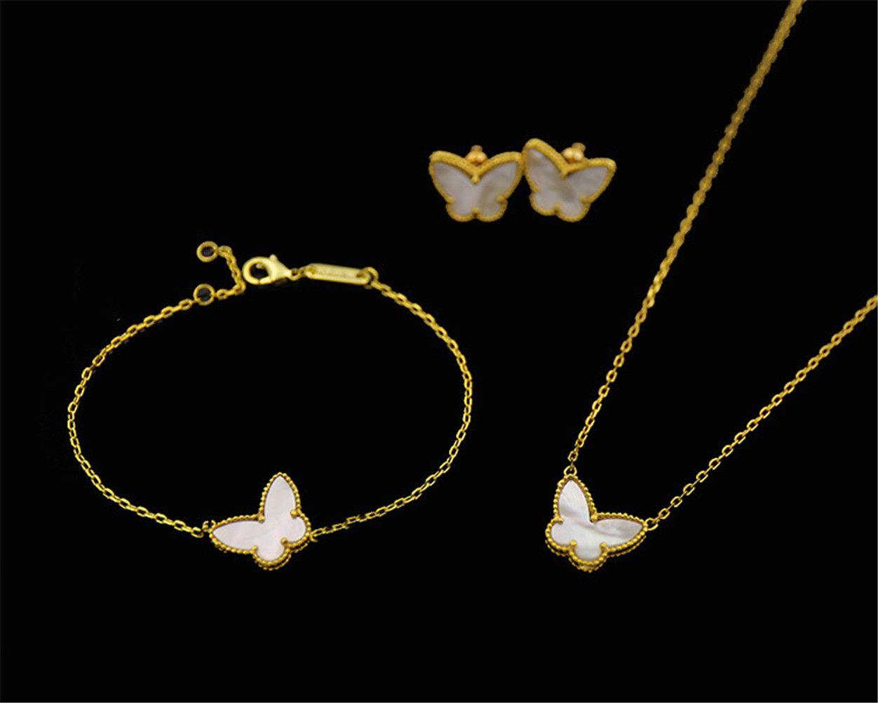 VAF 18K Gold Fashion Classic Sweet 4 / Quatre Feuillard Bracelet Bâilloir Boucles d'oreilles Collier Ensemble de bijoux pour S925 Silver Van Womengirls Wedding Saint Valentin Cadeaux