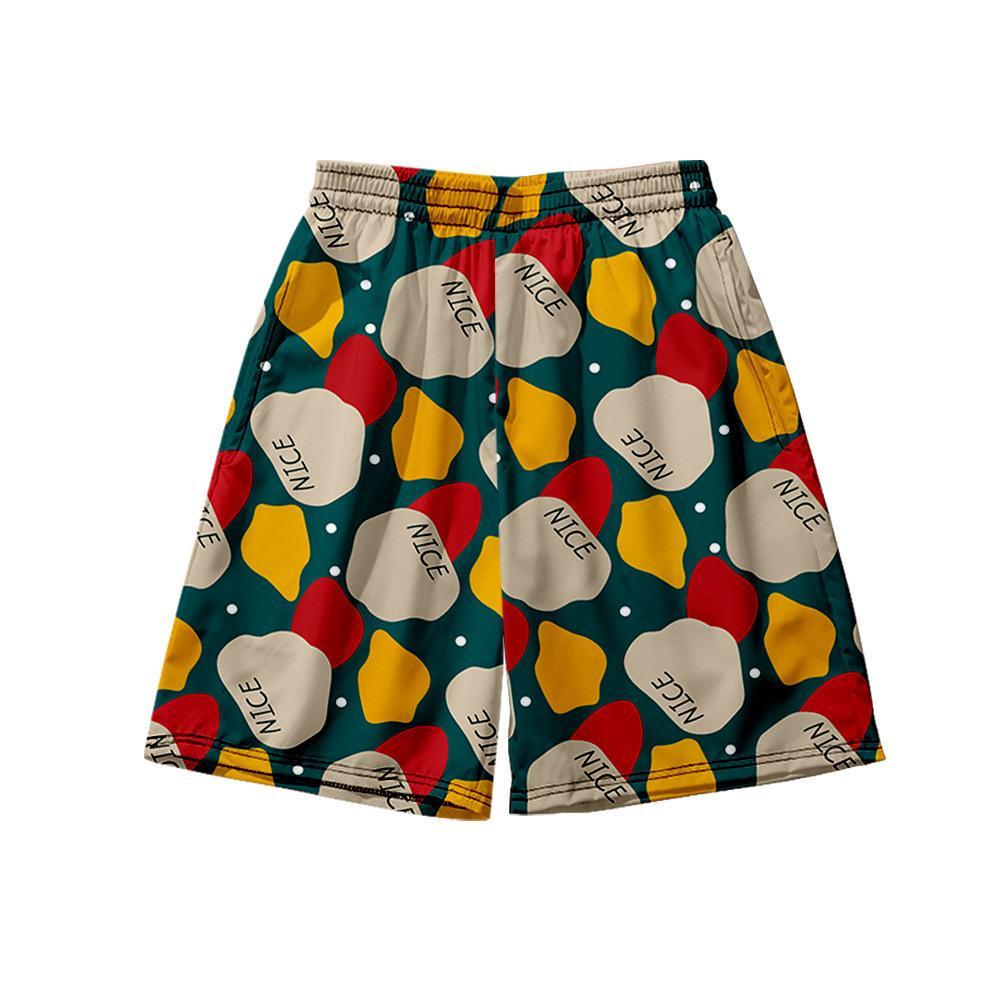 Pantalones cortos para hombres Producción de pantalones casuales con impresión de bloques de color creativo.