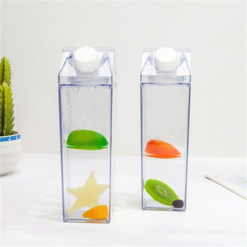 1pcs 물 병 우유 상자 재미 투명 한 패션 음료 주전자 완벽 한 선물 음료 카톤 주스에 대 한 커피 차 2082 v2