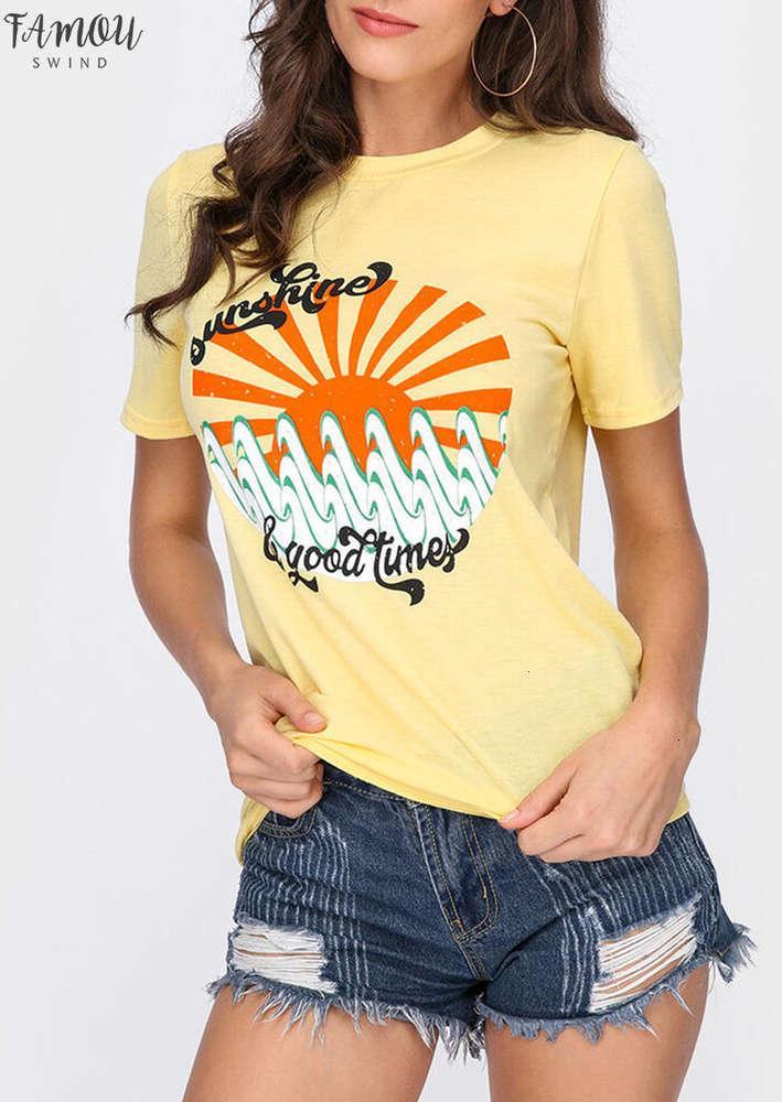 2020 летних женщин футболка солнечные лучи хорошие времена рубашка женские шеи печать t o случайные вершины короткие тройники футболки Tee Tee Teak Top Kfvve