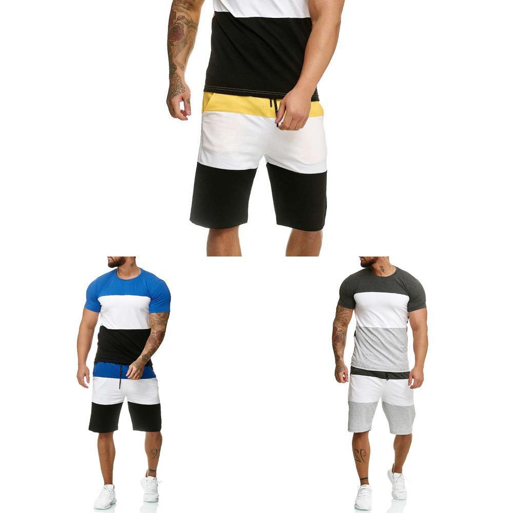 Männer Sets Herren 2 Stück Outfit Jogger Set Streifen Druck Sweatsouits Casual Shorts Set Sommer Mode Kleidung Männlich Kurzen Trainingsanzug X0601