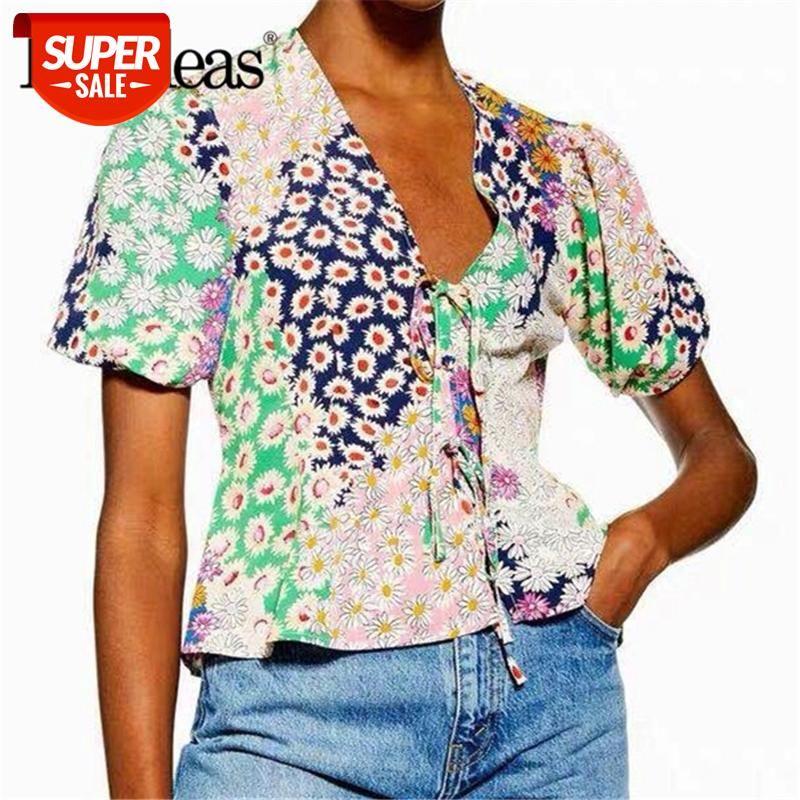 Petal Manga Moda Blusa Feminina Ruffles Blusas Mujer de Moda 2019 Vintage Floral Patchwork Womens Blusas Drop Ship # KL9P