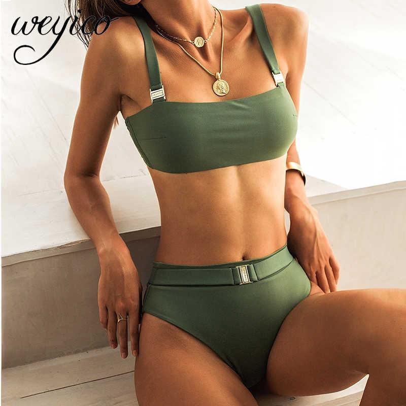 Biquíni conjunto de cintura alta mulheres sexy swimwear tiras banhos terno de banho praia desgaste biquini mujer brasileiro maiô fêmea 2021