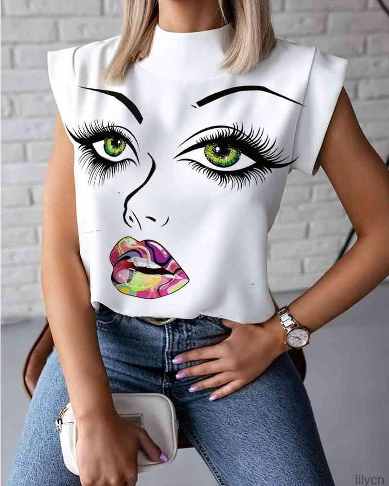 Sexy Womens Sommer T-Shirt Stehkragen Lippen gedruckt Tops T Shirts Ärmellose Damen Acetat Größe S-2XL