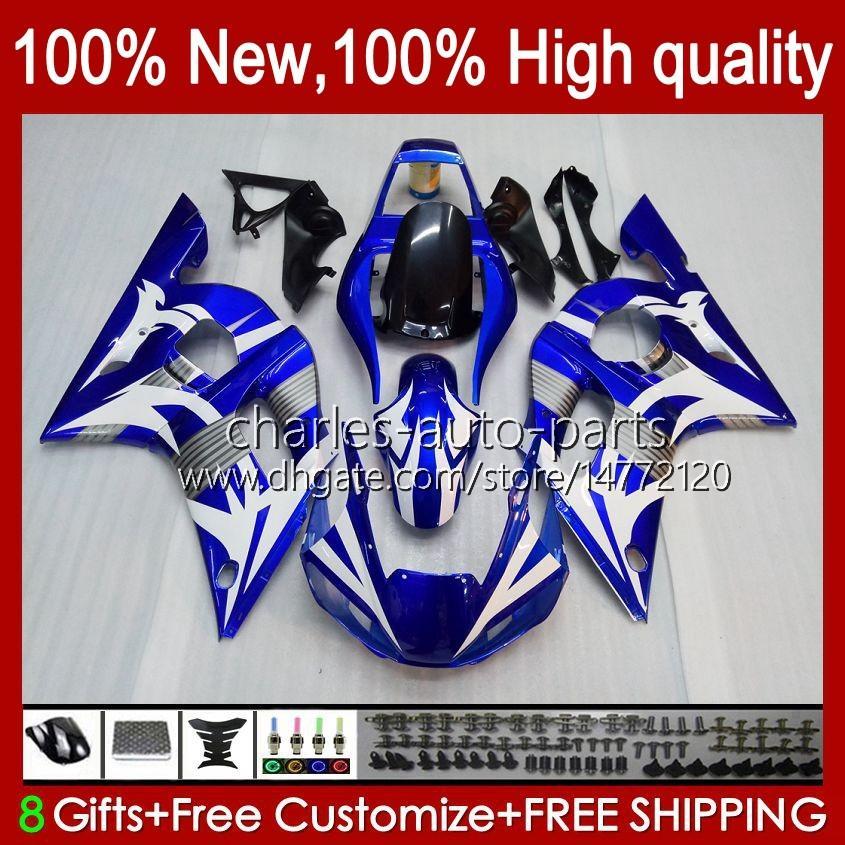 Bodys para a Yamaha YZF600 YZF600 600CC YZFR6 YZF R6 R6 58HC.35 YZF 600 YZFR6 98 99 00 01 02 1998 1999 2000 2001 2002 carenagem azul branco quente