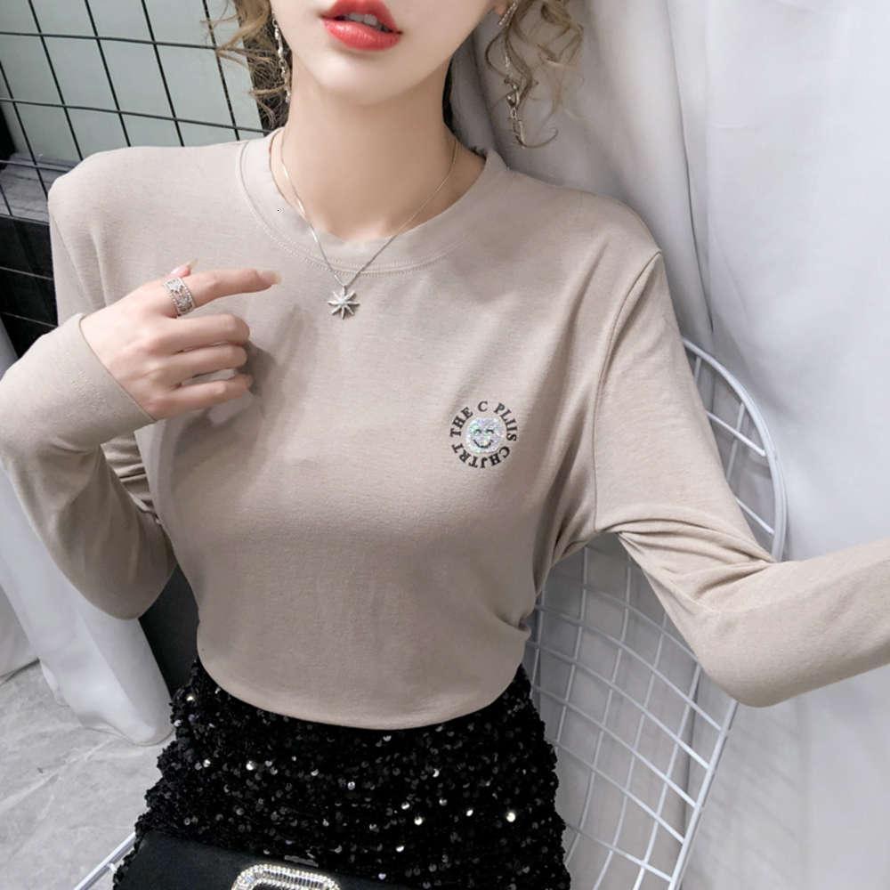 футболки для рубашек зима напечатаны блестки с длинным рукавом женщин