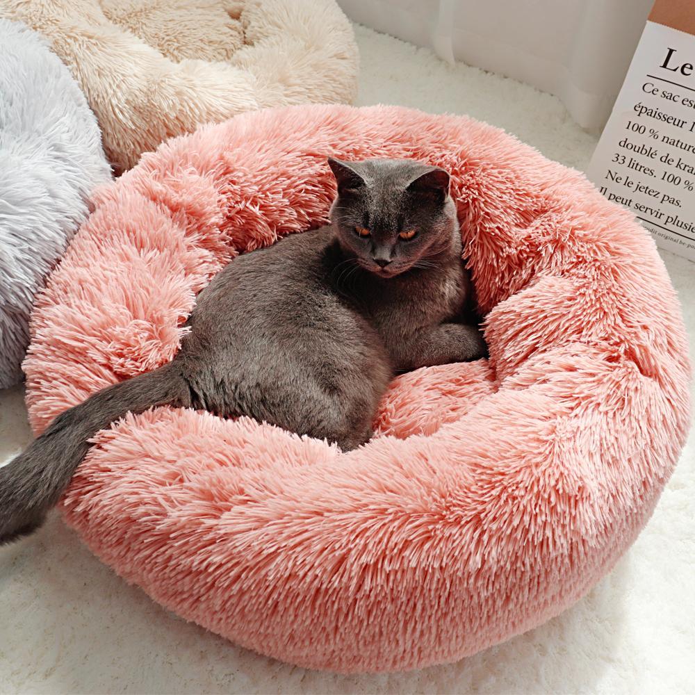 Yuvarlak Köpek Yatak Uzun Peluş Kennel Yıkanabilir Kedi Evi Yastık Yumuşak Pet Paspaslar Küçük Büyük Köpekler için Kanepe Yavru Şezlong
