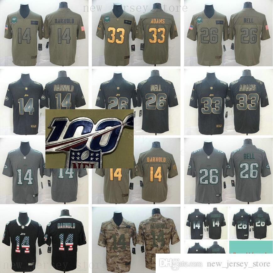 Stitched 100 StitchedNewyorkJetsFootball Jersey Mens 14 SamDarnold 26 Leveonbell 33 Jamaladams 100 aniversario Patch Jerseys