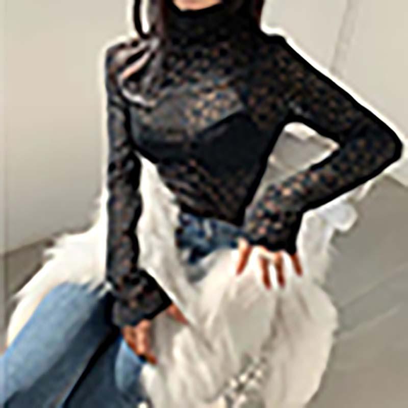 여성 블라우스 레오타드 편지 수 놓은 섹시한 긴 소매 티셔츠 웹 연예인 칼라 기질 레이스 다재다능한