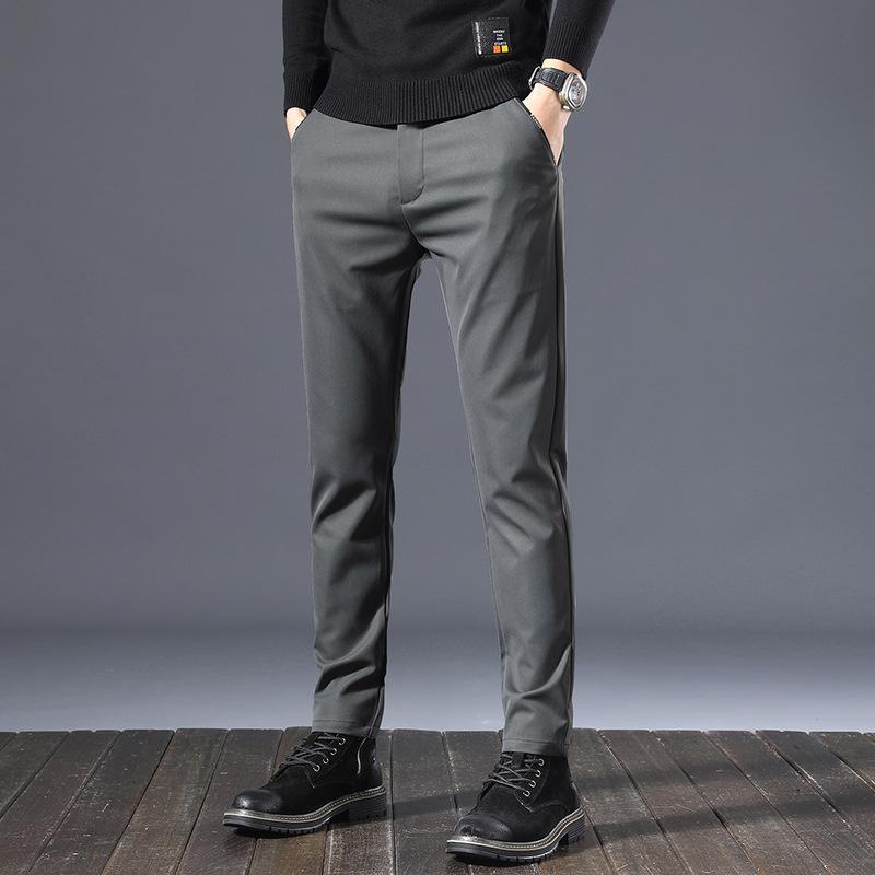 Outono e Inverno 2021 Elastic Casual Calças Longas Slim Fit Coloque Pequeno Pé Tubo Reto Negócios Vestido Preto Terno Men's