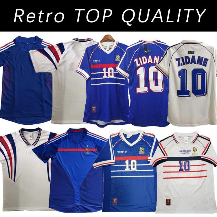 1998 Versão Retro Jersey FRANÇA 96 98 02 04 06 Zidane Henry Maillot de Foot 2000 Home Trezeguet Futebol Uniforme