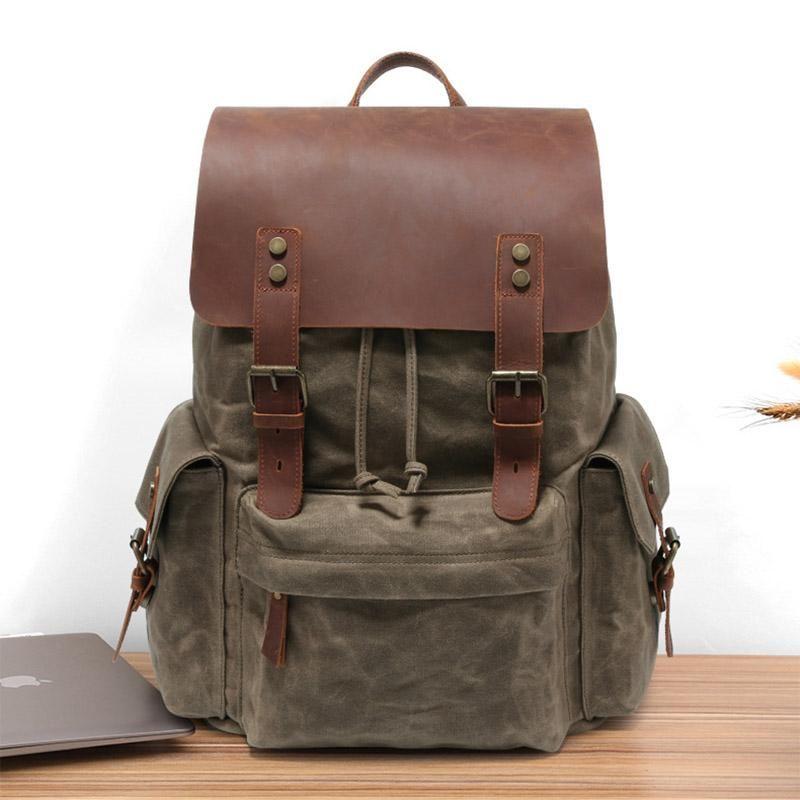 "Backpack Vintage Canvas Leather For Man Big Capacity Fit 15"" Laptop Rucksack School Daypack Large Travel Mochia"