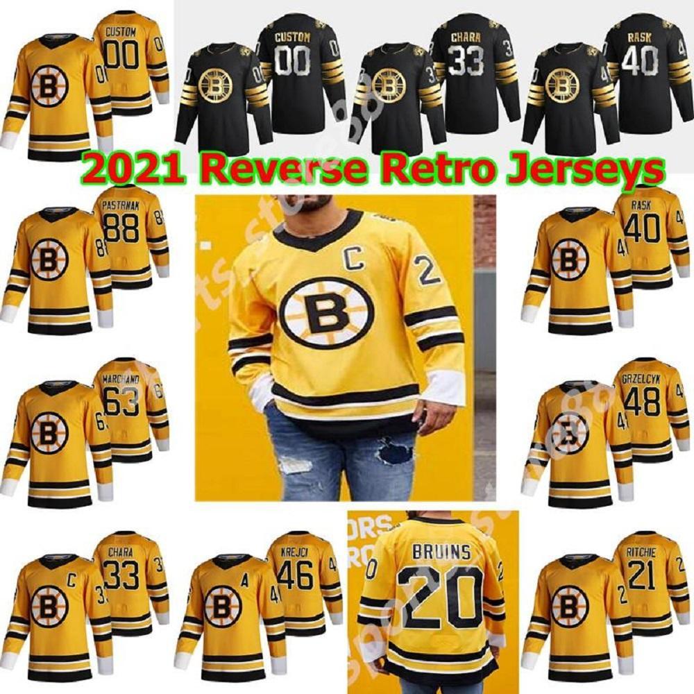 Boston Bruins 2021 обратный ретро хоккей Джерси Крис Вагнер Джерси Джоаким Nordstrom Sean Kuraly Connor Clifton Brett Ritchie Custom