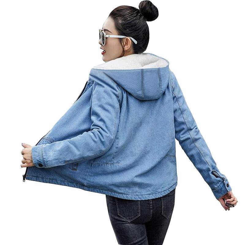 Kapüşonlu Kürk Sıcak Kış Denim Ceket Kadınlar 2021 Moda Sonbahar Yün Astar Kot Coat Bombacı Ceketler Casaco Feminino Kadınlar
