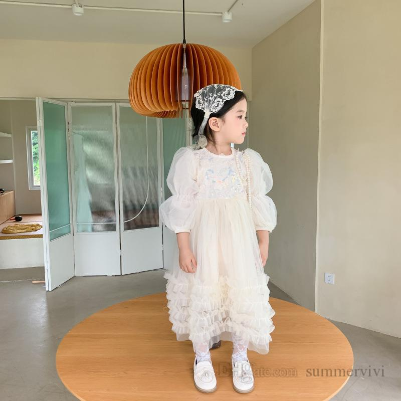 Kids flowers lace tulle dresses girls sequins gauze puff sleeve princess dress children tiered ruffle birthday party clothes Q2131