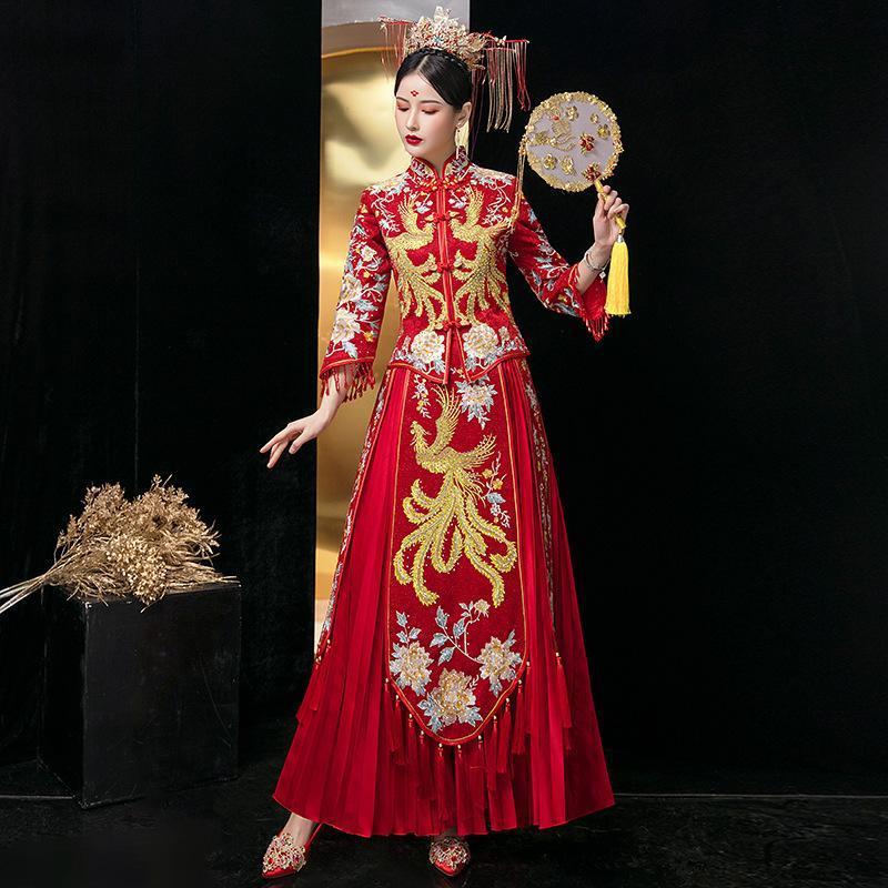Bride Traditions Donne rosse Donne Phoenix Ricamo Cheongsam Long Qipao Wedding Dress cinese Plus Size 5XL 6XL Abbigliamento etnico