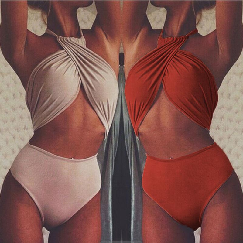Bikini 2021 mulheres sexy cor sólida pescoço split swimsuit dois pedaço conjunto