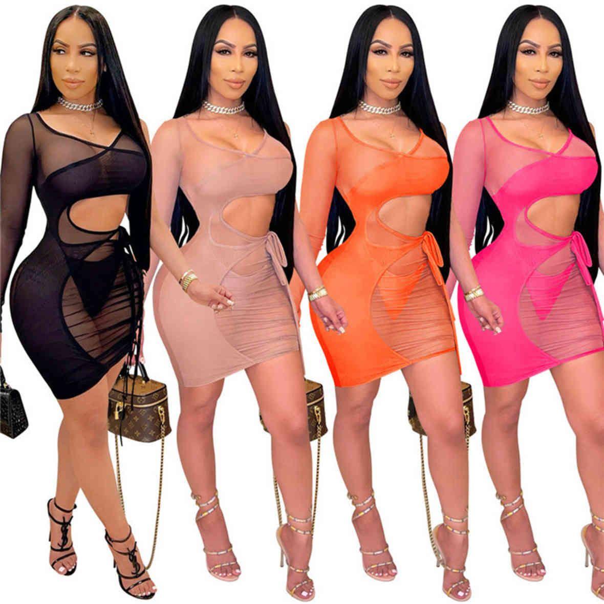 Vestuário de verão Mulheres Sexy Malha Sheer Casual Mini Vestidos de Manga Longa Plus Size 2XL Plain Bodycon Night Club Saias Fashion Slim Dress T344