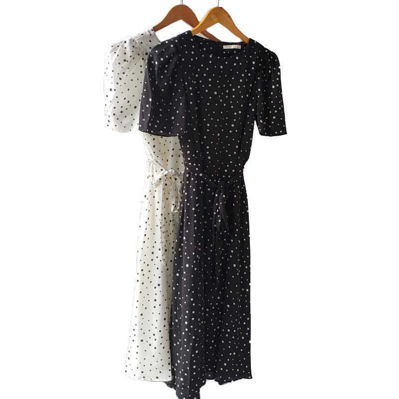 Toppies Summer White Polka Dot Robe de mousseline Femme Midi Robes Manchettes courtes Slim Taille Vestidos Mujer