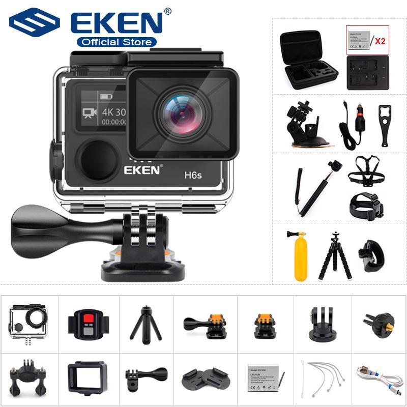 Caméra d'action Ultra HD d'origine EKEN H6S avec Ambarella A12 Chip 4K / 30FPS 1080P / 60FPS EIS 30M Caméra de sport étanche 210319