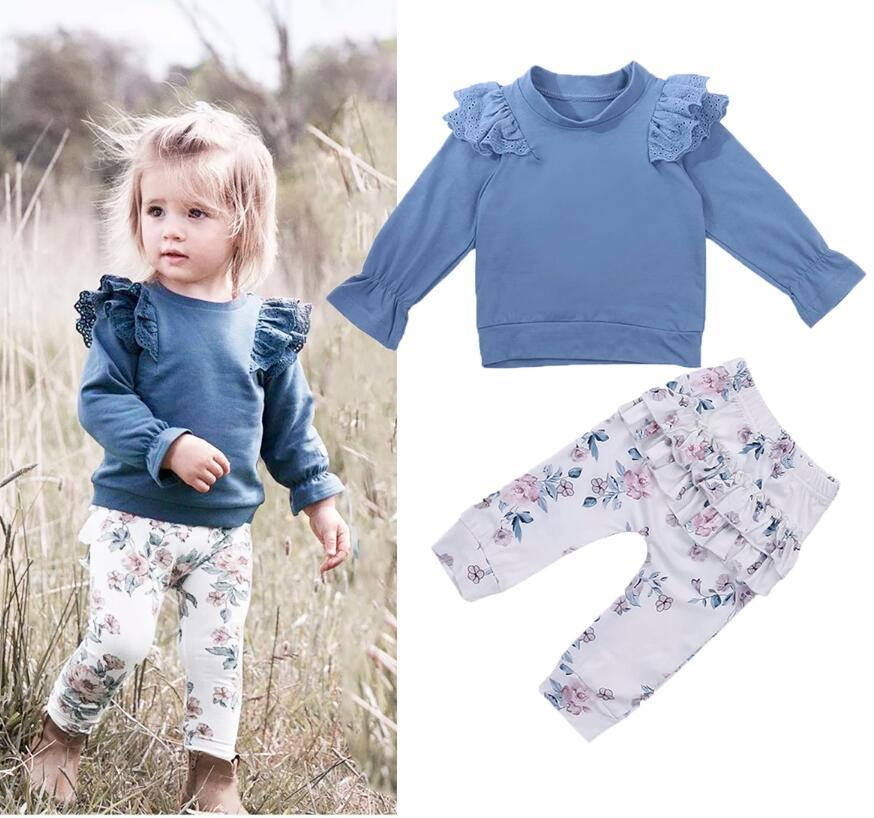 Kids Baby Girl Fall Clothing Sets Blue Solid Lace Long Sleeve Top T-shirt+Floral Print Pants Soft Cotton Clothes
