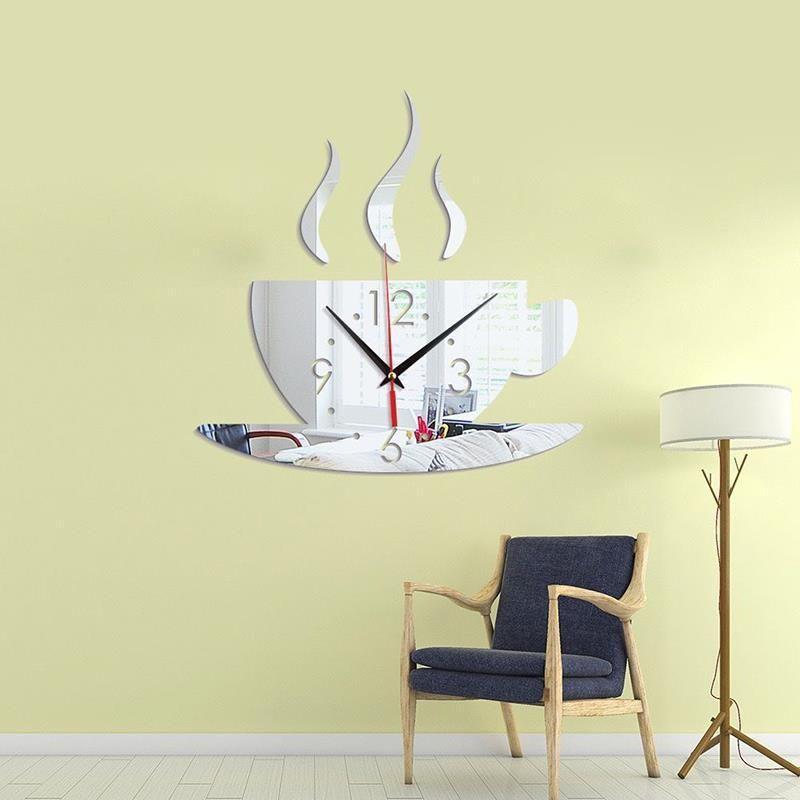 커피 컵 패턴 벽 시계 스티커 거울 스티커 배경 DIY 벽화 홈 장식 패션 크리 에이 티브 시계