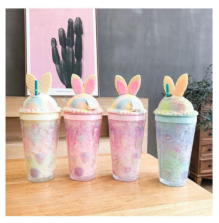 Drinkware Creative mugs ice cup girl heart rabbit straws cups lovely double-layer iced broken plastic water cup