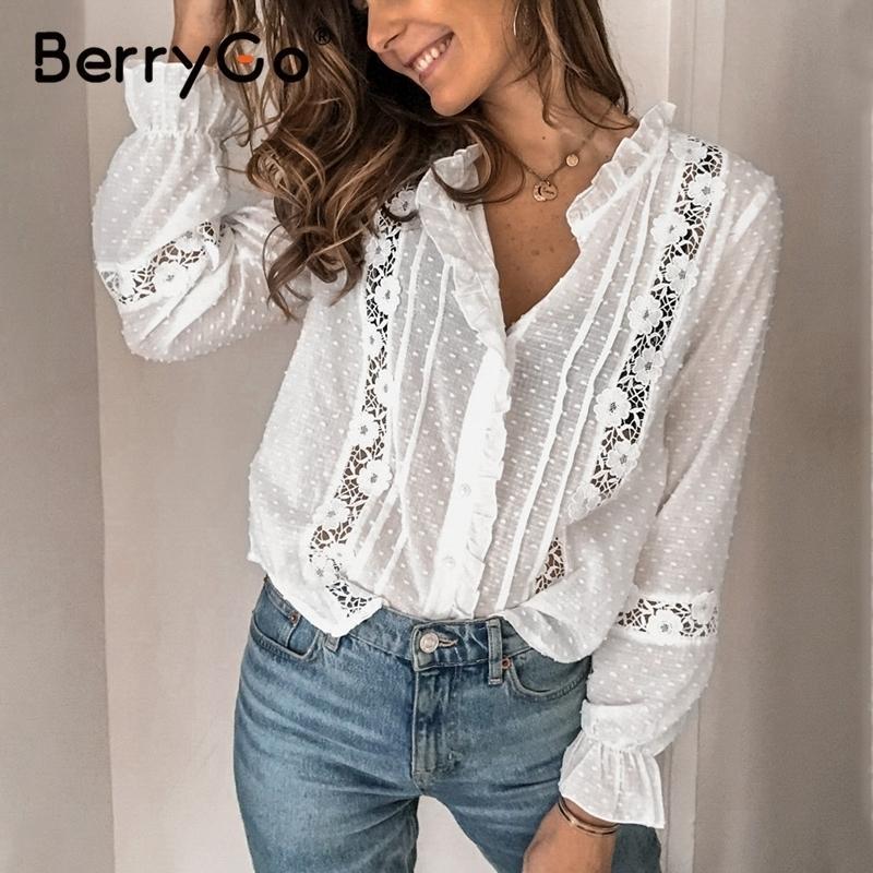 BerryGo verão floral algodão branco blusa vintage oco out feminino escritório senhoras tops laço casual manga longa blusa camisas 210320