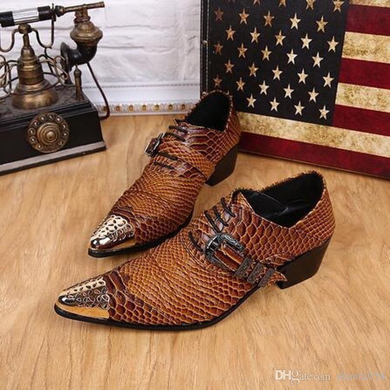 Hebilla Diseñador Baile Zapatos Hombres Zapatos de boda Pisos Marrón para hombre Vestido Zapatos de cuero genuino