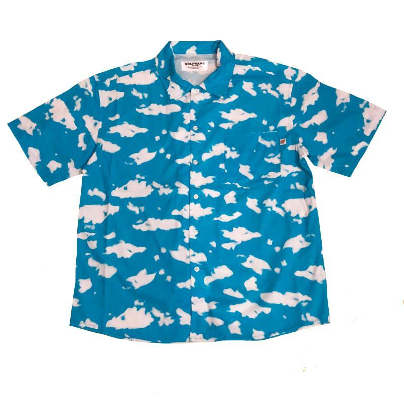 Homens golfe nuvem azul le fleur tyler o criador algodão casual camisa camisa de alta qualidade bolso curto mangas top s xl # c73 homens