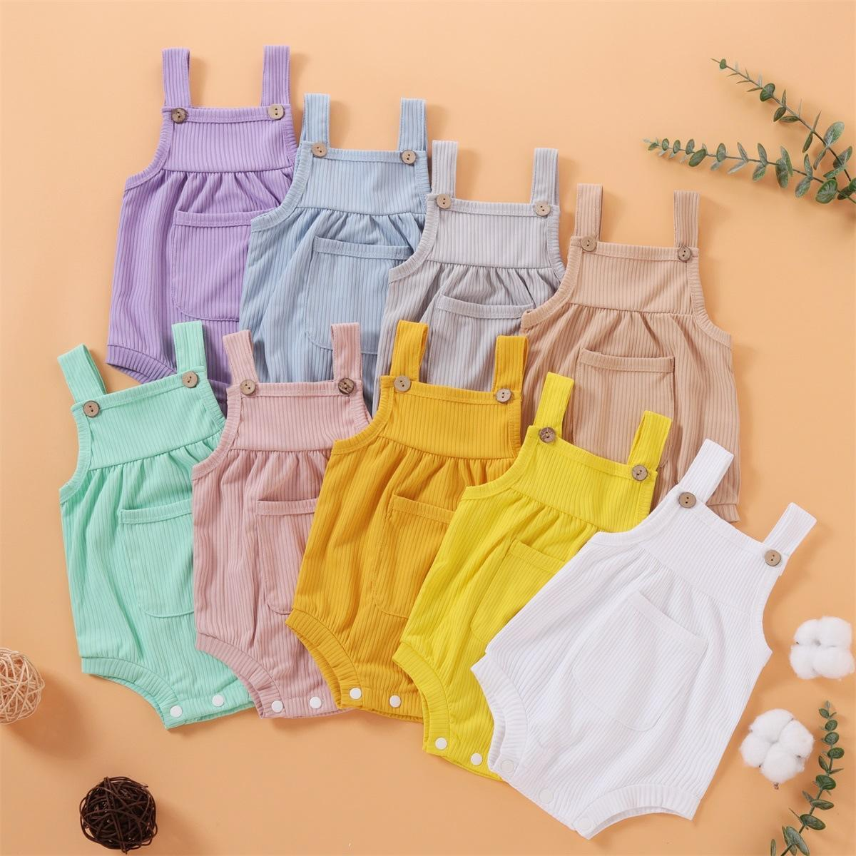 Wholesale INS Newest Baby Rompers Knitted Cotton Front Pockets Lovely Jumpsuit Infant Summer Sleeveless Oneises Newborn Romper Climb Clothes