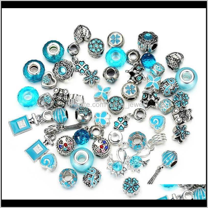 50Pcs/Lot Crystal Big Hole Loose Spacer Craft European Rhinestone Bead Pendant For Charm Bracelet Necklace Fashion Diy Jewelry Making 43Zf7